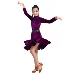 Girls velvet laitn dresses wine red black violet long sleeves rumba salsa chacha dancing skirts costumes dress